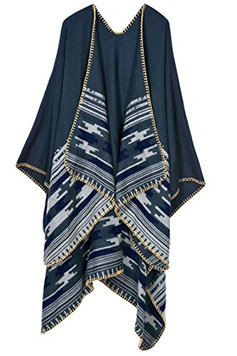 VamJump Women Color Block V Cut Oversized Blanket Poncho Wrap Shawl (Grey-400)