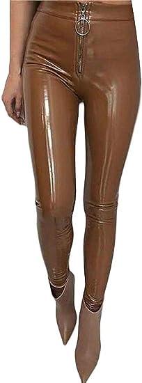Womens Leggings Full Zip High Waist Skinny Bodycon Faux Leather Pencil Pants