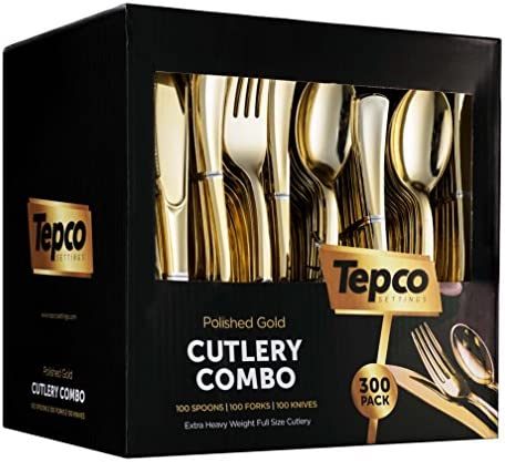 300 Gold Plastic Silverware Set product image