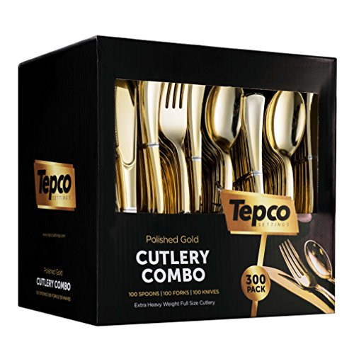 300 Gold Plastic Silverware Set - Plastic Gold Cutlery Set - Disposable Flatware Gold - 100 Gold Plastic Forks, 100 Gold Plastic Spoons, 100 Gold Cutlery Knives Heavy Duty Silverware for Party Bulk