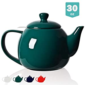 Sweejar Porcelain Teapot with Infuser and Lid,Teaware with Filter 30 OZ for Tea/Coffee/Milk/Women/Office/Home/Gift (Jade)