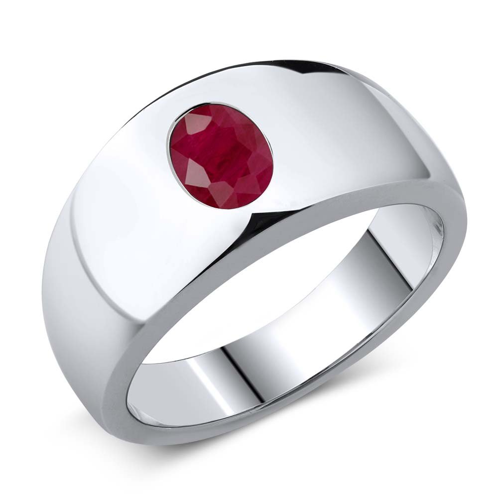 1.89 Ct Oval Red VS Ruby 925 Sterling Silver Men's Ring (Ring Size 11)