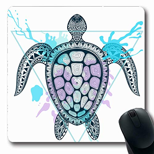 Ahawoso Mousepad Oblong 7.9x9.8 Inches Watercolor Tribal Zentangle Ocean Turtle Triangle Pattern Abstract Drawn Hand Shell Aquatic Design Office Computer Laptop Notebook Mouse Pad,Non-Slip Rubber ()