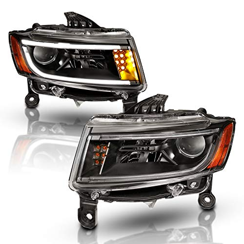 AmeriLite 2014-2015 LED Bar/Turn Signal Projector Black Headlights Pair for Jeep Grand Cherokee Halogen Version