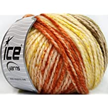 Lot of 4 x 100gr Skeins Ice Yarns FUN WOOL BULKY (25% Wool) Yarn Copper Green Brown Yellow White