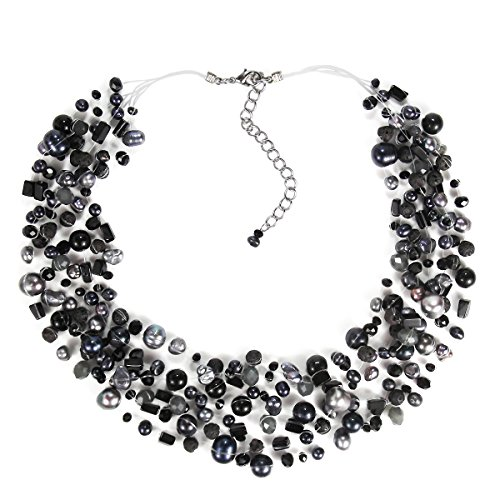 AeraVida Classy Cascades of Cultured Freshwater Black Pearls-Reconstructed Black Onyx Necklace - Freshwater Pearl Cascade