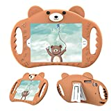 PZOZ New iPad 9.7 Inch Case for Kids Cover for Air 1/2 iPad 2018/2017 Pro Shock Proof with Handle Stand for 5/6 Apple Tablet 5th Generation 6th Gen A1475 A1893 A1474 (Brown)