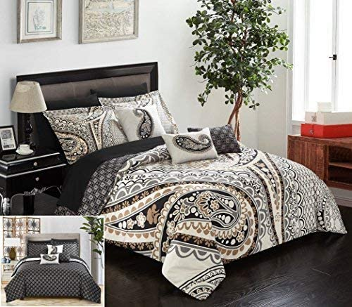Chic Home Del Mar 10 Piece Comforter Complete Bed in a Bag Set GSM Microfiber Large Scale Paisley Print with Contemporary Geometric Pattern Bedding