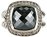 Gempara Designer Inspired 11x11mm Cushion Cable Twisted Black Onyx Ring Size 7, 8