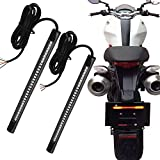 "Auxbar 2PCS Motorcycle LED 3rd Brake Tail Lights Strip Stop Turn Signals 48 Bulbs 3528 SMD 8"" Flexible Plate Licenses Bar for Harley Davidson ATVs Scooters Touring Bikes"