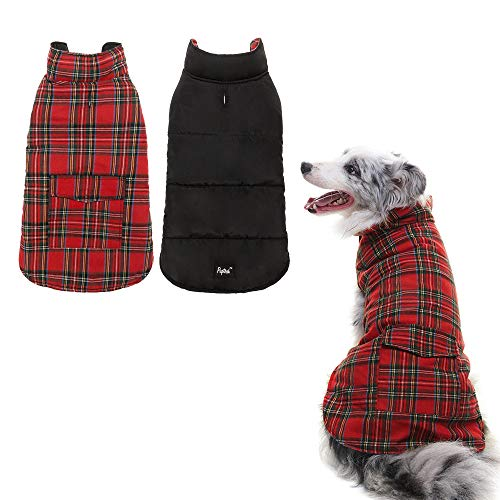Cheap PUPTECK Reversible Dog Winter Clothes Waterproof Cold Weather Coat Black & Red Medium