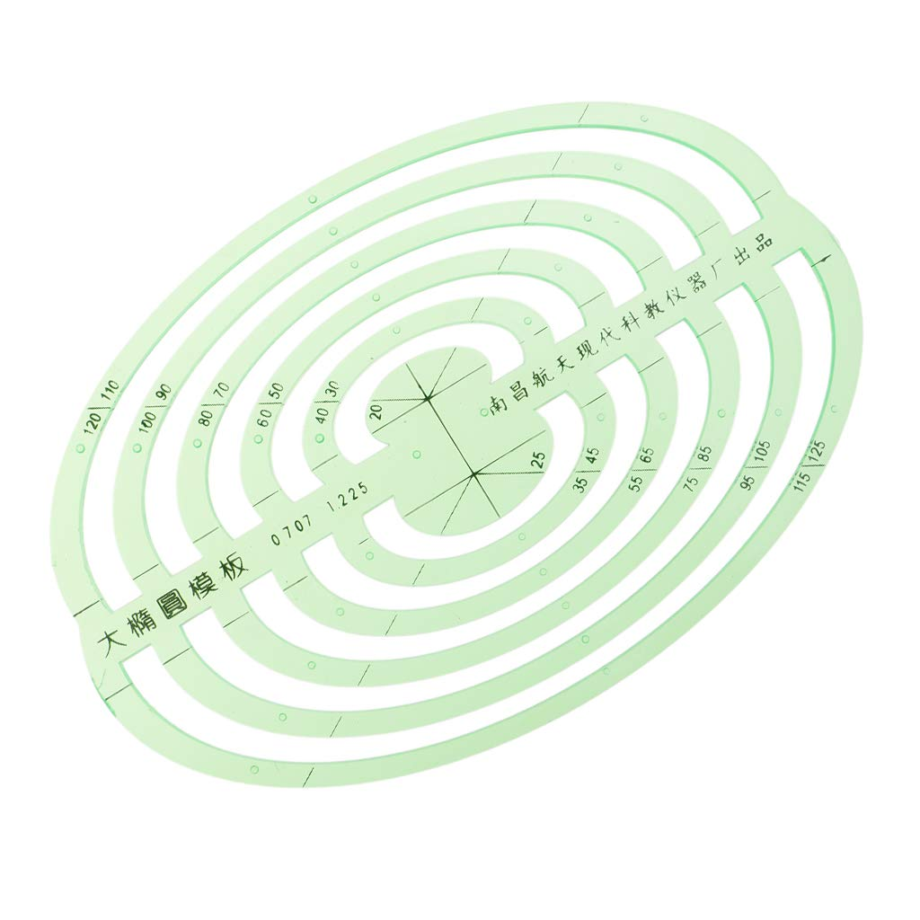 SM SunniMix 1 Pc Plastic Green Measuring Templates Geometric Rulers for Office and School, Building formwork, Drawings templates - Large Oval by SM SunniMix (Image #8)