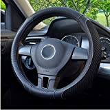 BOKIN Steering Wheel Cover, Microfiber Leather and Viscose, Breathable, Warm in Winter and Cool in Summer, Universal 15 Inches (New Black): more info