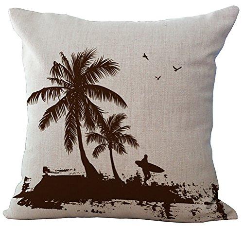 (ChezMax Coconut Palm Tree Throw Pillow Cover Sham Slipover Cotton Linen Pillowcase Square Pillowslip Sham for Wedding Festival Christmas Xmas Decor Decorative)