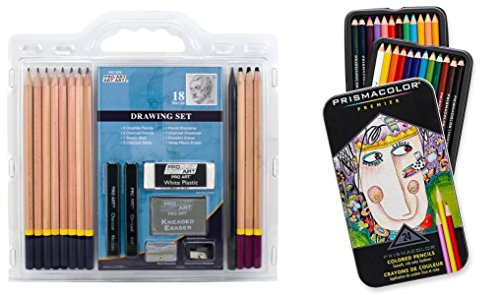 Pro Art 18-Piece Sketch Pencil Set (+ sharpeners & erasers) with (1) Prismacolor Premier Colored Pencils - Sketching & Drawing Art Set Kit for Kid, Teen, and Adult Artists