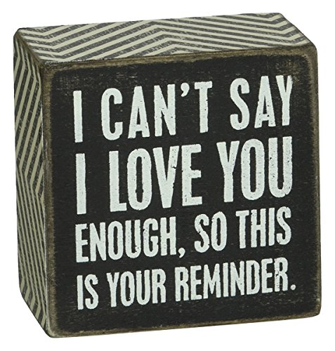 Primitives by Kathy Box Sign, 3 by 3-Inch, I Love You