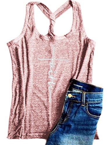 Women Cross Faith Letters Print Racerback Tank Tops Sleeveless T-Shirt Cami Tees (Pink, M)
