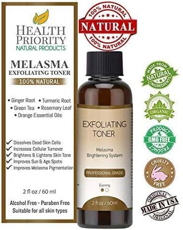 Melasma Treatment for Face - 100% Natural & Organic. Best Toner for Lightening & Dark Spot Corrector - Hydroquinone & Kojic Acid Free. Kit, Serum & Cream to Fade & Remove Pigment Problems. No peel!