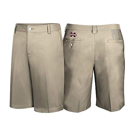 ba887c711 adidas Mississippi State Bulldogs NCAA Men s Khaki 3 Stripes TMAG Stretch  Climalite Golf Shorts (40