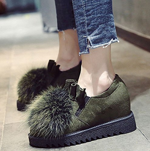 Jitong Women's Warm Suede Boots Faux Fur Ball Ruffle Short Booties Low-Top Slip On Increase High Shoes Black Green qcXyhFW90t