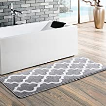 Uphome Moroccan Patten Extra Long Microfiber Bathroom Shower Accent Rug - Non-slip Soft Absorbent Decorative Bath Runner Floor Mat Carpet