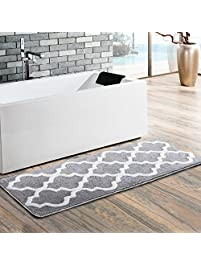 Moroccan Patten Extra Long Bathroom Rug Uphome Microfiber Washable Non Slip Soft Absorbent Decorative