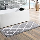Moroccan Patten Extra Long Bathroom Rug, Uphome Microfiber Washable Non-slip Soft Absorbent Decorative Bath Mats Runner Floor Mat Carpet (18'' W x 48'' L, Grey)