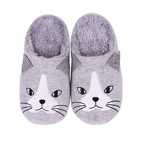 Price comparison product image Shevalues Cute House Slippers Dog Penguin Animal Indoor Home Slippers Winter Fuzzy Bedroom Slippers For Kids 13G-XS
