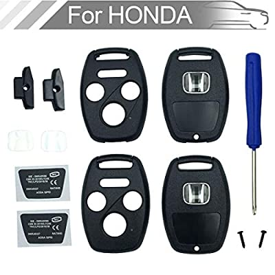 NEW 4 button Key Fob Shell Case Fit for Honda Civic Accord Ex Pilot Fit Keyless Entry Remote Key Housing Replacement with Screwdriver (3+1Button 2PCS): Automotive