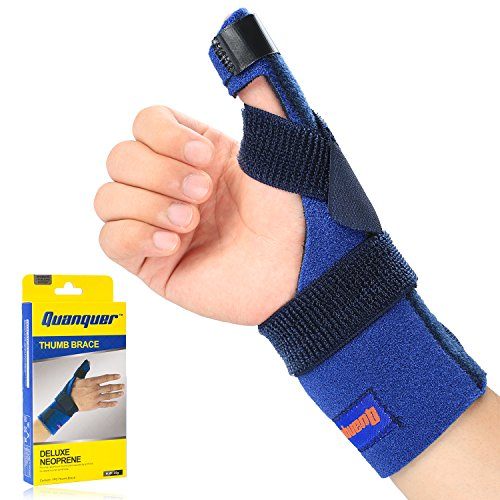 Thumb Brace by Quanquer, Adjustable Thumb Spica Splint for Pain, Sprained, Arthritis, Tendonitis- Best Trigger Thumb Immobilizer for thumb CMC Restriction, Thumb Support and Guard- Left or Right - Neoprene Thumb Spica