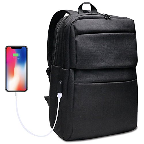 Laptop backpack with USB charging port, back pack fit laptop up to 15.6'', book bag for women and men, made with 1200ant D ballistic polyester by SYCNB