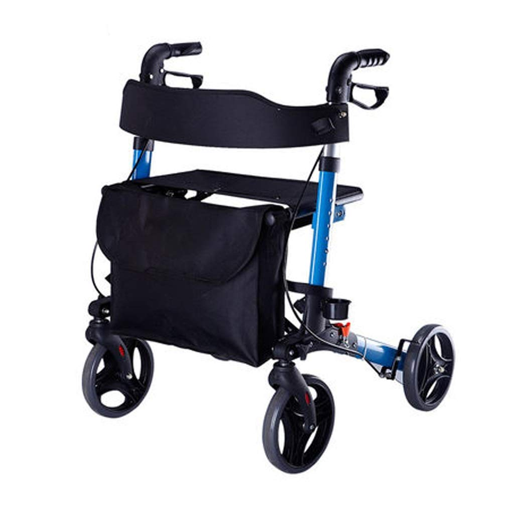 Stand Up Rollator Walker, Adjustable Handle Height with Upholstered Seat and Lower Basket Auxiliary Walking Safety Walker (Size : Blue-A)