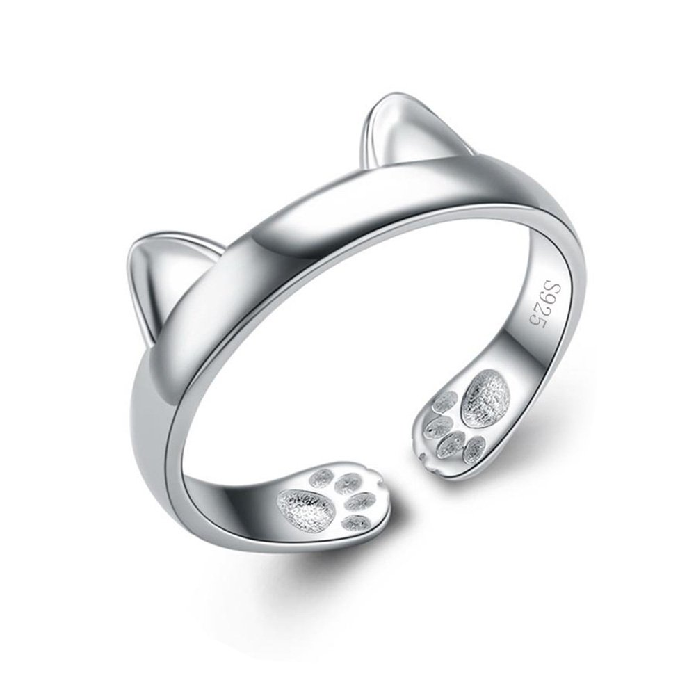 Fine Jewelry Cute Cat S925 Sterling Silver Womens Ring for Women Teen Girl (8)