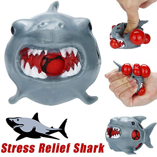 (LtrottedJ Stress Relief Toy, Stress Relief Shark Rubber Mesh Ball Stress Anxiety Pressure Squeeze Grape Toys)
