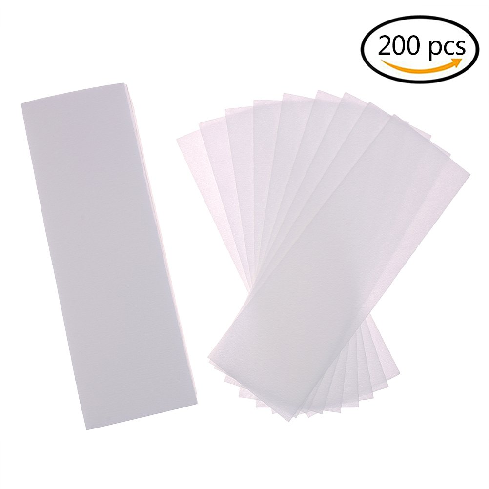 BESTIM INCUK 200 Pack Hair Removal Waxing Strips Non woven Wax Strips Epilating Strips for Face, Legs, Underarms, Body and Bikini, White