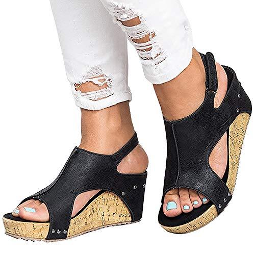 Athlefit Women's Cutout Belt Wedges Sandals Platform Faux Leather Cork High Heels Size 6 Black ()