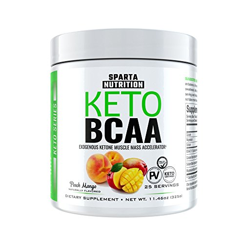 Keto BCAA: Exogenous Ketones and Amino Acid Powder, Beta-Hydroxybutyrate (BHB) Ketone Salts and Branch Chain Amino Acids, Build Lean Muscle, Post-Workout Muscle Recovery Drink, Peach Mango, 25 Scoops