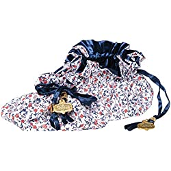 C.R. Gibson Women's Red, White, and Blue Floral Cotton Drawstring Travel Jewelry Pouch