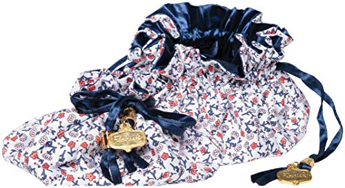 C.R. Gibson Red, White, and Blue Floral Satin Drawstring Travel Jewelry Pouch, 6