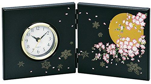 中谷兄弟商会 山中漆器 屏風時計(小) 黒 富士33-4201 B01M6UJIHW 富士