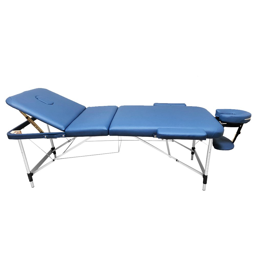 3-Section Aluminum 84L Portable Massage Table Facial SPA Bed Tattoo w/Free Carry Case (Navy Blue) Angel Canada