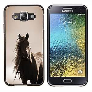 TECHCASE---Cubierta de la caja de protección para la piel dura ** Samsung Galaxy E5 E500 ** --crin de caballo sepia animal de compañía marrón
