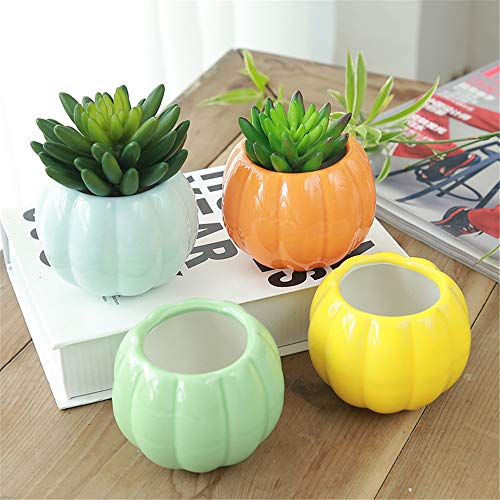 Pumpkin Shape Ceramic - Green Pumpkin Shape Geometry Flowerpot Mini 4Pcs Azure Color Ceramic Flow Glaze Base Series Set Succulents Potted Cactus Plant Potted Flowerpot Container Planter Bonsai