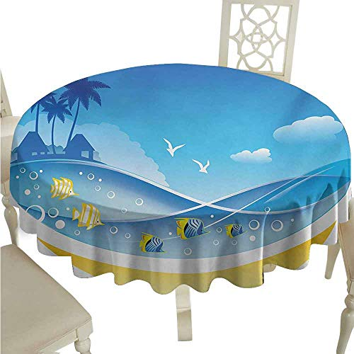 duommhome Tropical Animals Oil-Proof Tablecloth Exotic Sea Waves in Fauna Frame with Gulls and Coconut Trees Journey Easy Care D35 Blue ()