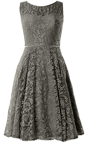 Women Lace MACloth Length Grau Knee Dress Formal Wedding Gown Vintage Cocktail Party SAaawq