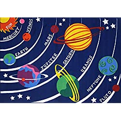 "Kids Educational Galaxy Planets Stars Rug Blue Solar System Fun Rug Children Area Rug for Playroom & Nursery - Non Skid Gel Backing (39"" x 59"")"
