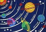 "Kids Educational Galaxy Planets Stars Rug Blue Solar System Fun Rug Children Area Rug for Playroom & Nursery - Non Skid Gel Backing (39'' x 59"")"