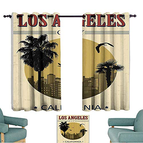 DILITECK Exquisite Curtain Apartment Decor Collection Los Angeles City from California in Vintage Style Birds Vacation Journey Design Tie Up Window Drapes Living Room W55 xL63 Ivory Olive Red