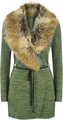 WearAll - Femmes Faux Fourrure Collier Belted Longue Manche Ouvert Haut Veste Cardigan - Hauts - Femmes - Tailles 36-42 Vert Kaki