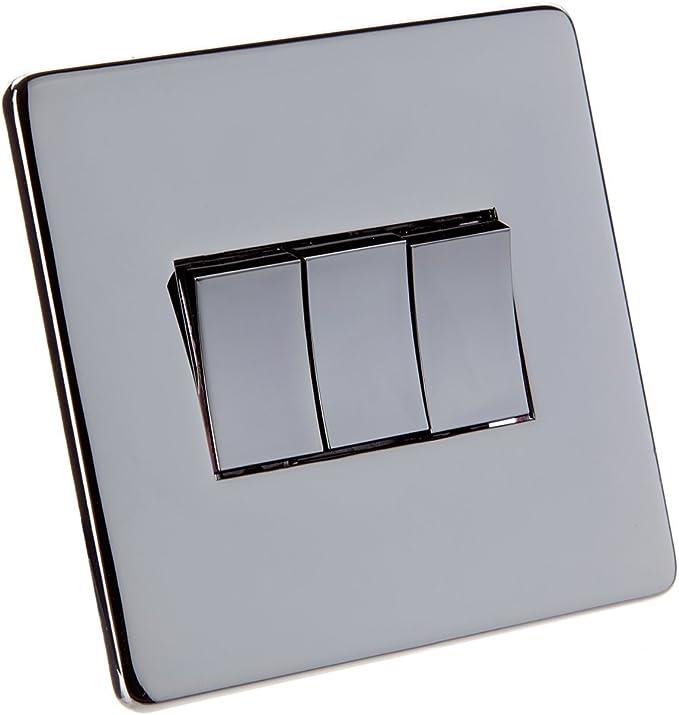 Crabtree Flat Triple Light Switch Face Plate Hidden Fixing Screws Black Nickel Finish 2 Way Amazon Co Uk Lighting